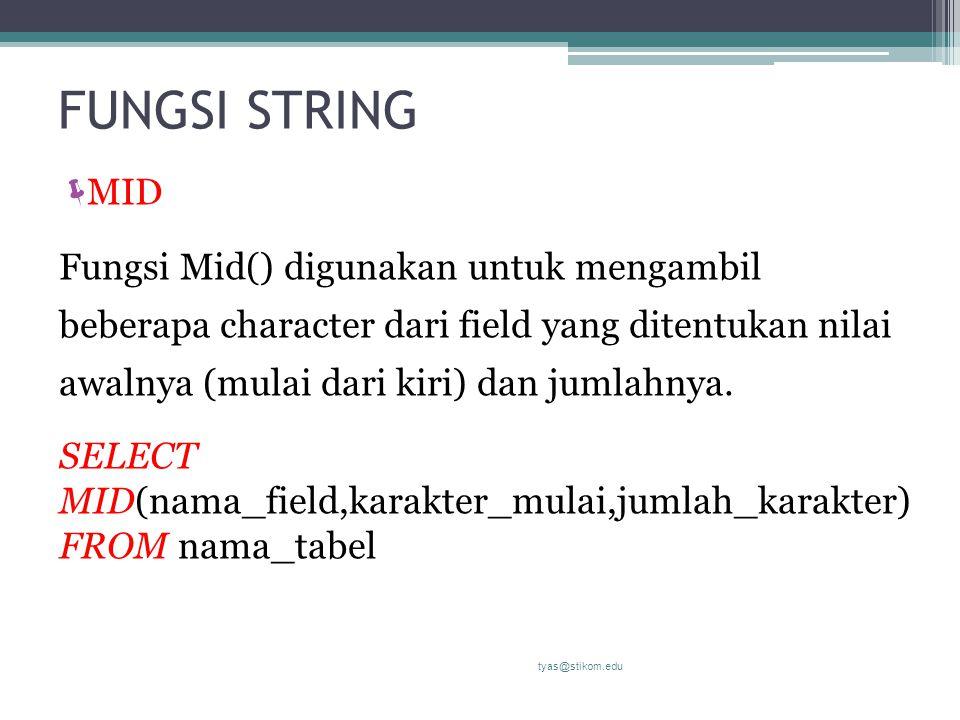 FUNGSI STRING  MID Fungsi Mid() digunakan untuk mengambil beberapa character dari field yang ditentukan nilai awalnya (mulai dari kiri) dan jumlahnya.