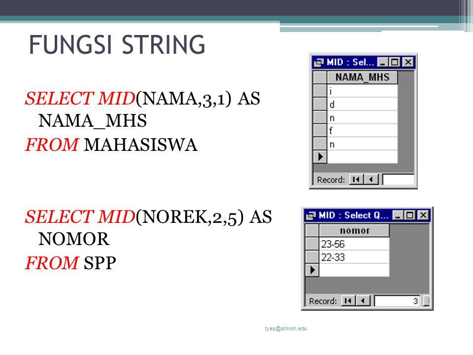 FUNGSI STRING SELECT MID(NAMA,3,1) AS NAMA_MHS FROM MAHASISWA SELECT MID(NOREK,2,5) AS NOMOR FROM SPP tyas@stikom.edu