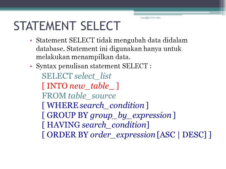 STATEMENT SELECT Statement SELECT tidak mengubah data didalam database. Statement ini digunakan hanya untuk melakukan menampilkan data. Syntax penulis