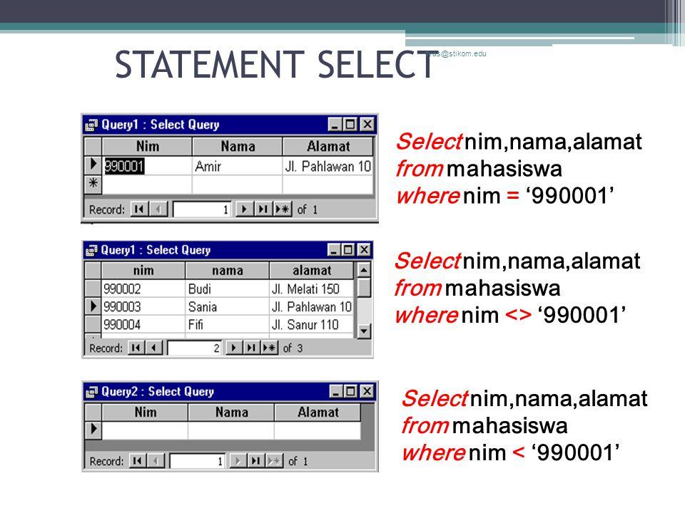 STATEMENT SELECT tyas@stikom.edu Select nim,nama,alamat from mahasiswa where nim = '990001' Select nim,nama,alamat from mahasiswa where nim < '990001' Select nim,nama,alamat from mahasiswa where nim <> '990001'