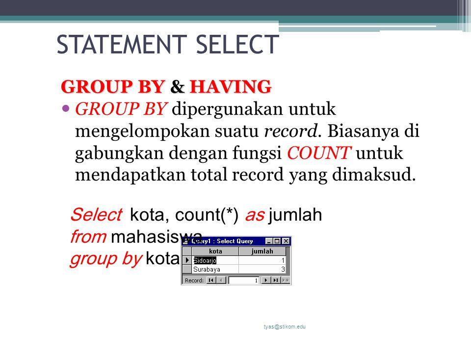 STATEMENT SELECT GROUP BY & HAVING GROUP BY dipergunakan untuk mengelompokan suatu record. Biasanya di gabungkan dengan fungsi COUNT untuk mendapatkan