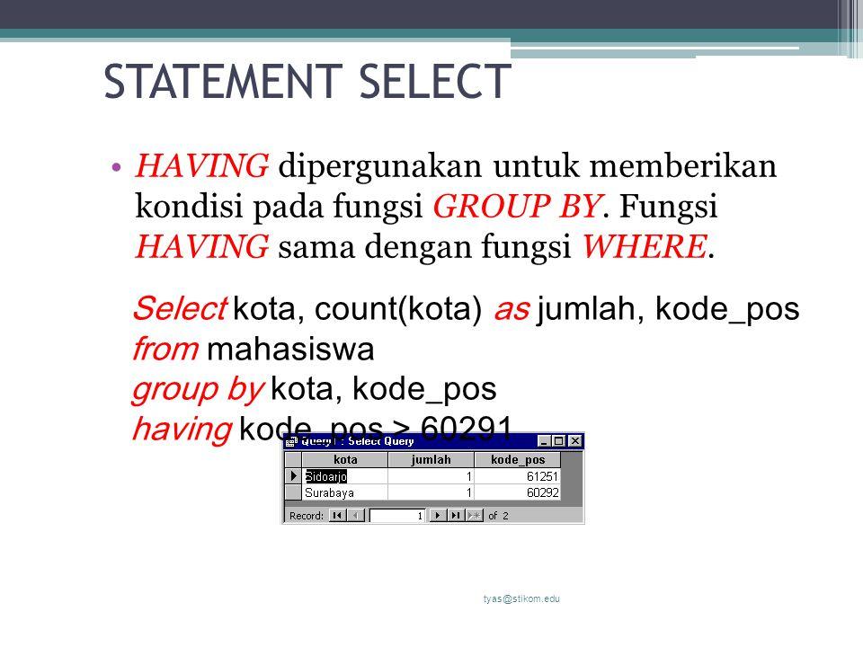 STATEMENT SELECT HAVING dipergunakan untuk memberikan kondisi pada fungsi GROUP BY. Fungsi HAVING sama dengan fungsi WHERE. tyas@stikom.edu Select kot