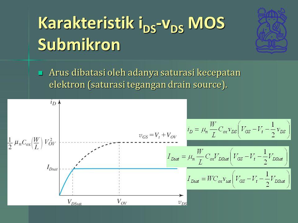 Karakteristik i DS -v DS MOS Submikron Arus dibatasi oleh adanya saturasi kecepatan elektron (saturasi tegangan drain source). Arus dibatasi oleh adan