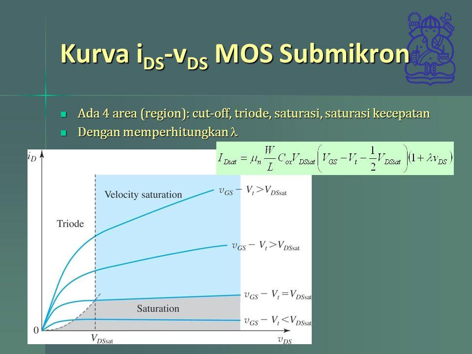 Kurva i DS -v DS MOS Submikron Ada 4 area (region): cut-off, triode, saturasi, saturasi kecepatan Ada 4 area (region): cut-off, triode, saturasi, satu