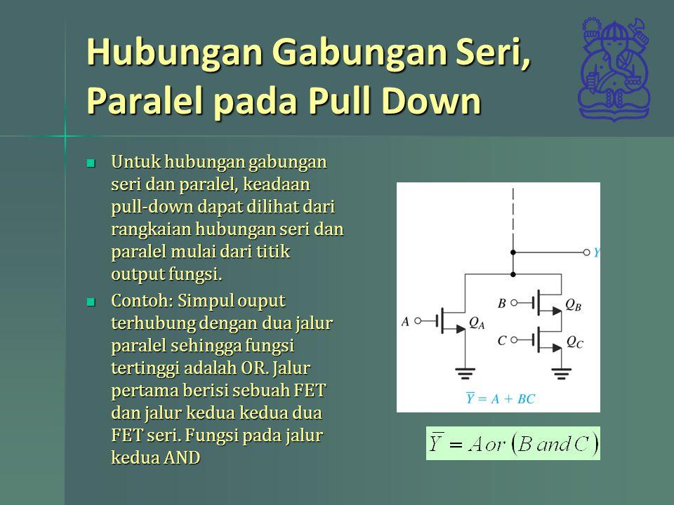 Hubungan Gabungan Seri, Paralel pada Pull Down Untuk hubungan gabungan seri dan paralel, keadaan pull-down dapat dilihat dari rangkaian hubungan seri