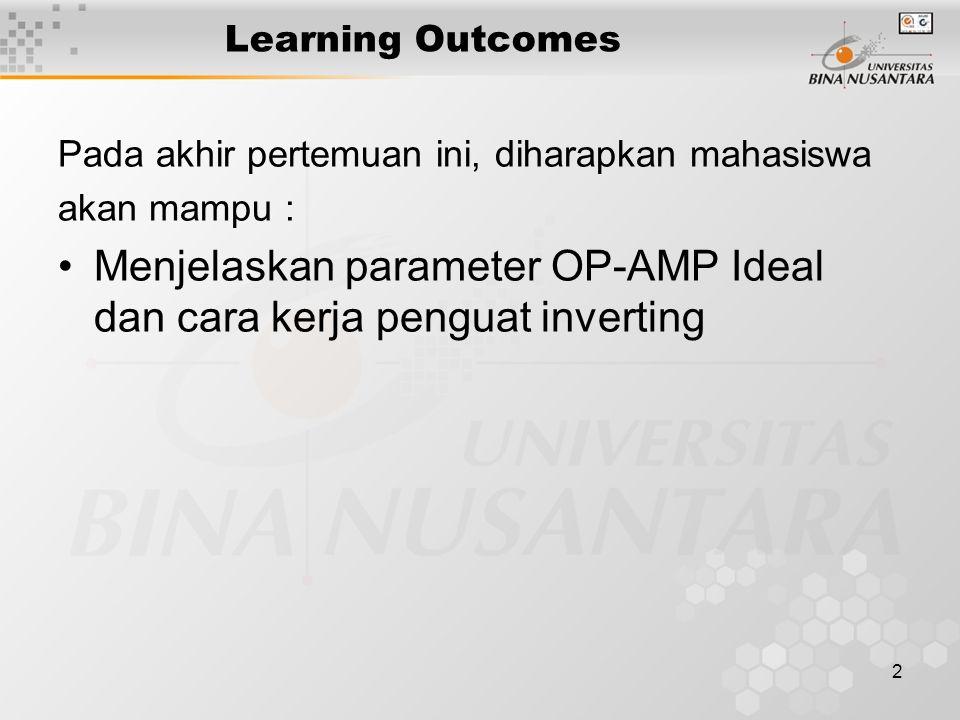 2 Learning Outcomes Pada akhir pertemuan ini, diharapkan mahasiswa akan mampu : Menjelaskan parameter OP-AMP Ideal dan cara kerja penguat inverting
