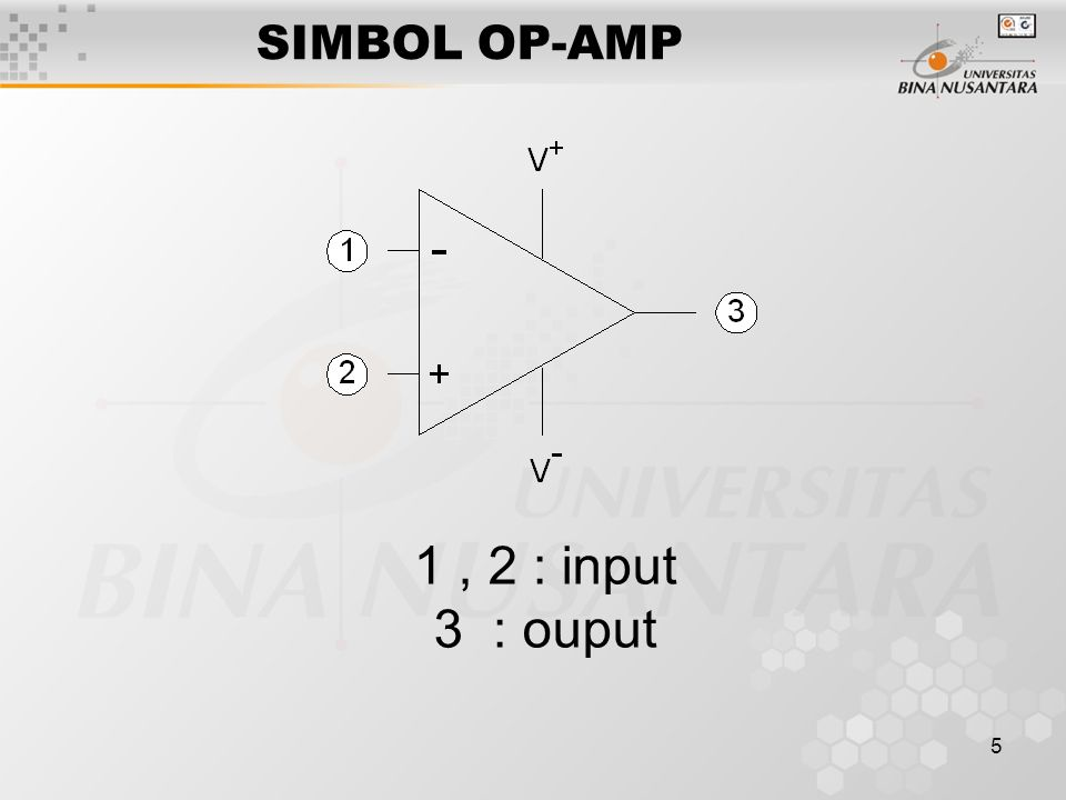 6 PARAMETER IDEAL Differential Gain/Open Loop Gain Inverting Input Terminal Non Inverting Input Terminal Common Mode Input Signal Common Mode Rejection