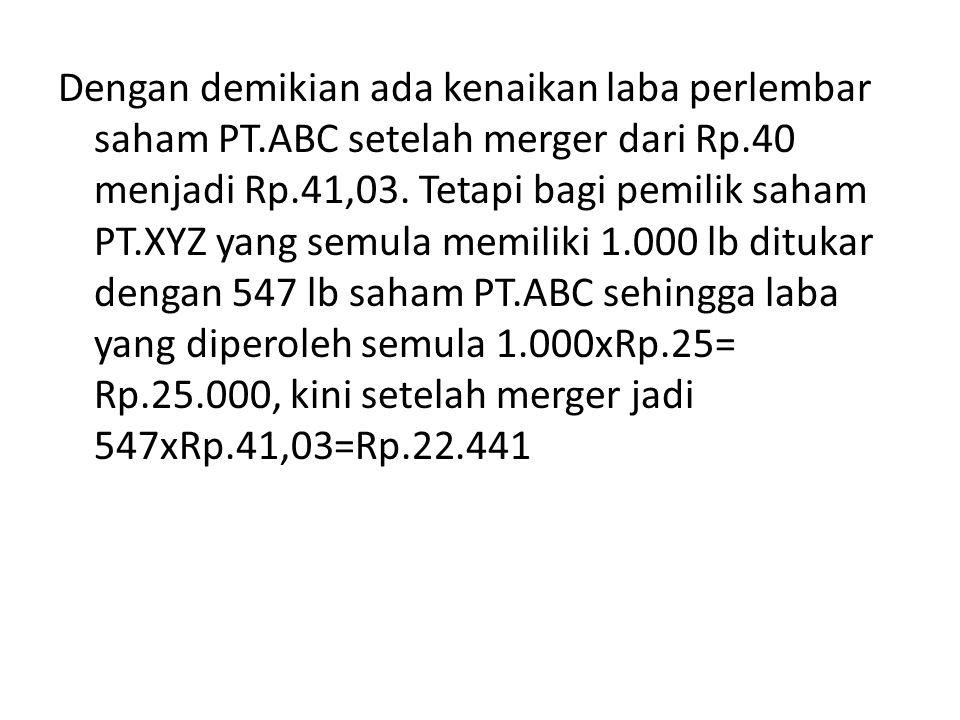 Dengan demikian ada kenaikan laba perlembar saham PT.ABC setelah merger dari Rp.40 menjadi Rp.41,03. Tetapi bagi pemilik saham PT.XYZ yang semula memi
