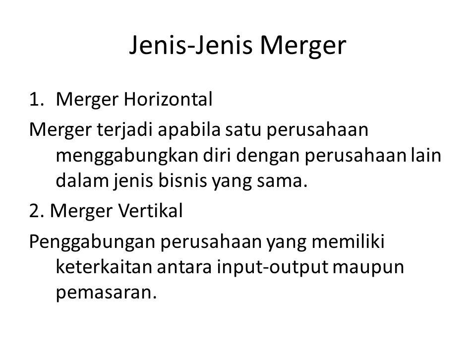 Jenis-Jenis Merger 1.Merger Horizontal Merger terjadi apabila satu perusahaan menggabungkan diri dengan perusahaan lain dalam jenis bisnis yang sama.