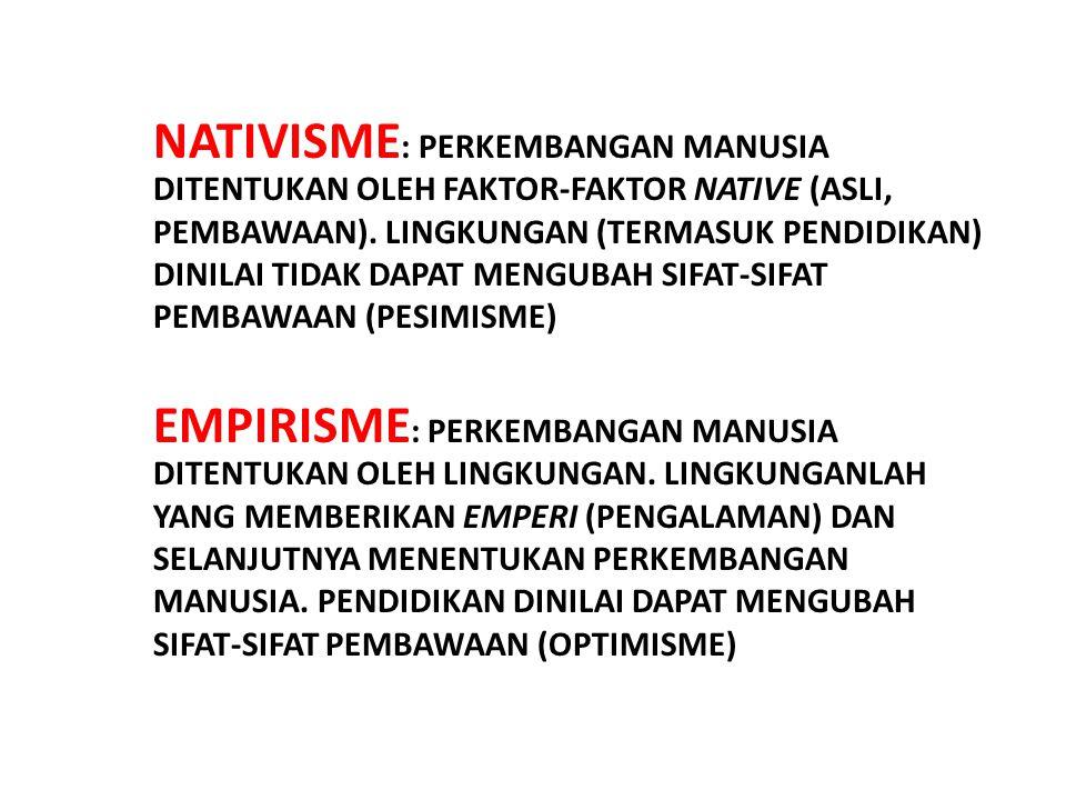 NATIVISME : PERKEMBANGAN MANUSIA DITENTUKAN OLEH FAKTOR-FAKTOR NATIVE (ASLI, PEMBAWAAN). LINGKUNGAN (TERMASUK PENDIDIKAN) DINILAI TIDAK DAPAT MENGUBAH