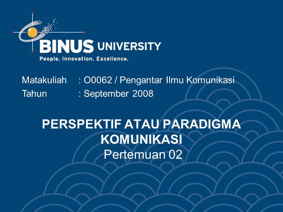 Bina Nusantara 2 Materi: Perspektif Mekanistis Perspektif psikologis Perspektif interaksional Perspektif pragmatis