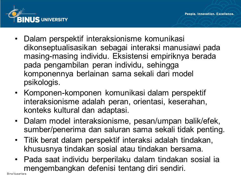 Bina Nusantara Dalam perspektif interaksionisme komunikasi dikonseptualisasikan sebagai interaksi manusiawi pada masing-masing individu. Eksistensi em