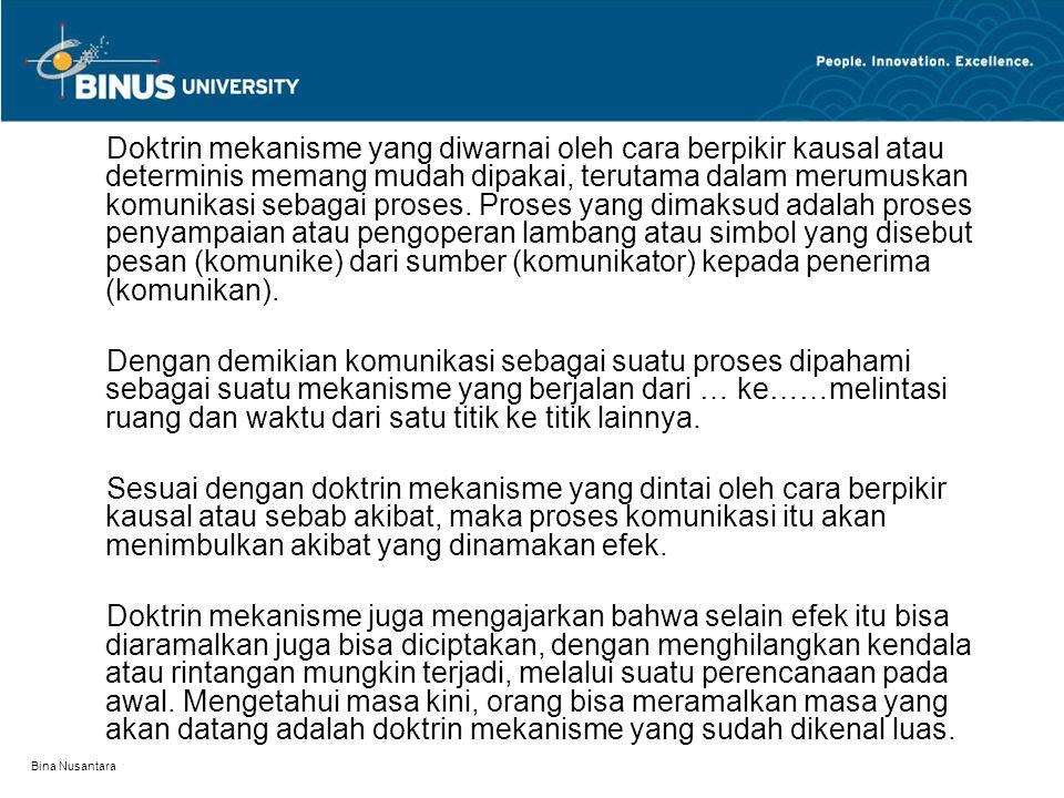 Bina Nusantara Doktrin mekanisme yang diwarnai oleh cara berpikir kausal atau determinis memang mudah dipakai, terutama dalam merumuskan komunikasi se