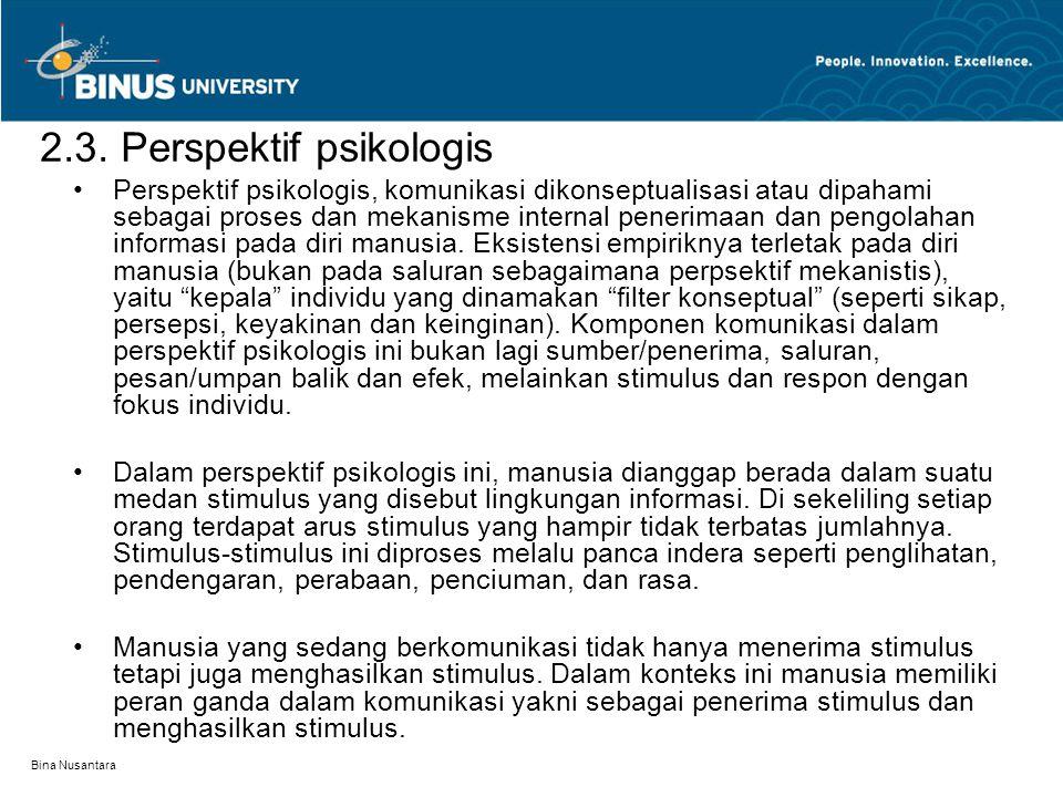Bina Nusantara 2.3. Perspektif psikologis Perspektif psikologis, komunikasi dikonseptualisasi atau dipahami sebagai proses dan mekanisme internal pene