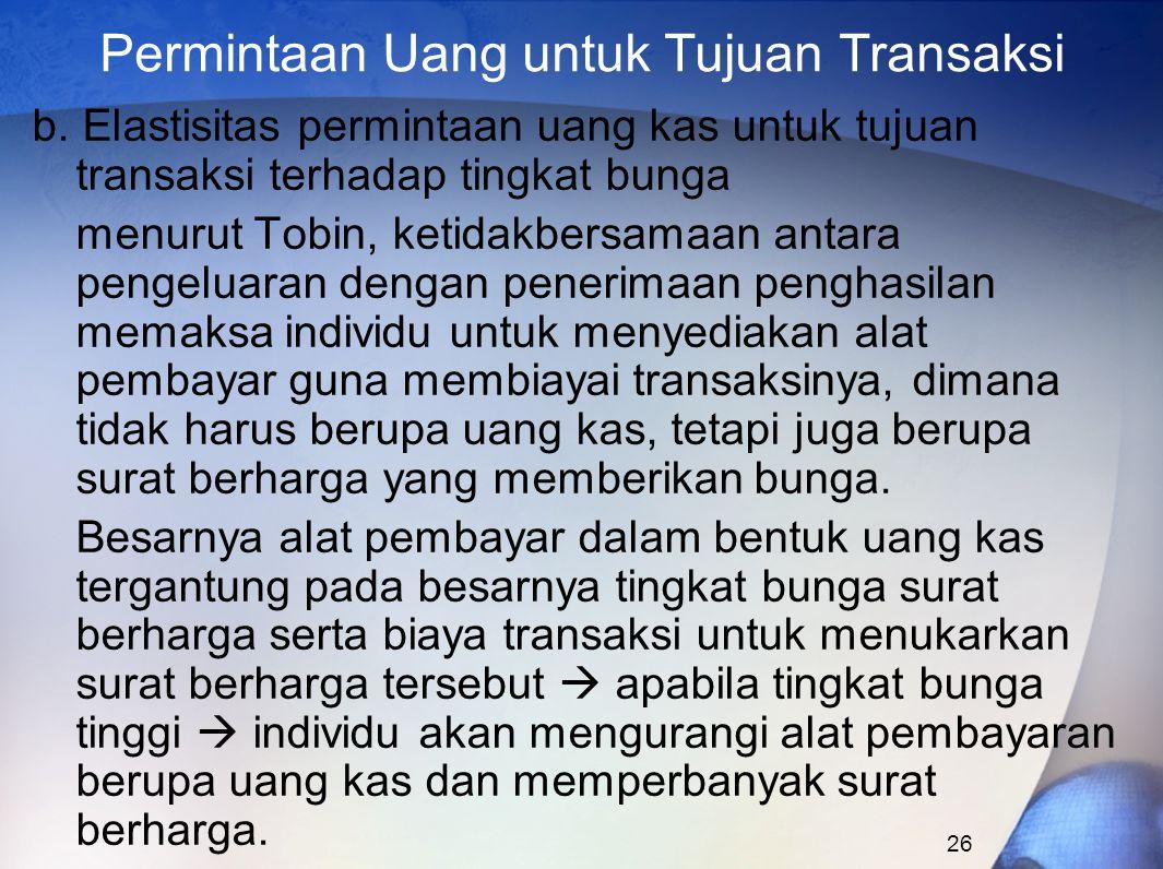 26 Permintaan Uang untuk Tujuan Transaksi b. Elastisitas permintaan uang kas untuk tujuan transaksi terhadap tingkat bunga menurut Tobin, ketidakbersa