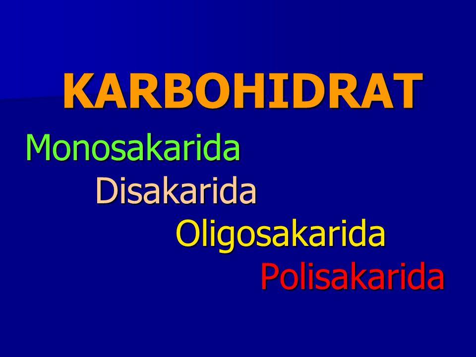 KARBOHIDRAT Monosakarida Disakarida Disakarida Oligosakarida Oligosakarida Polisakarida Polisakarida