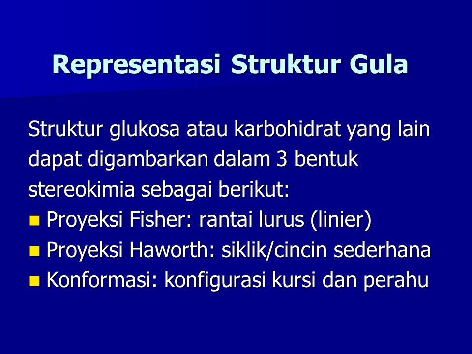 Representasi Struktur Gula Struktur glukosa atau karbohidrat yang lain dapat digambarkan dalam 3 bentuk stereokimia sebagai berikut: Proyeksi Fisher: