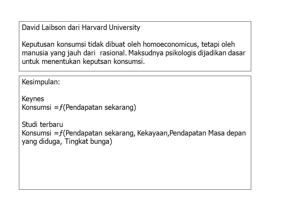 Kesimpulan: Keynes Konsumsi =ƒ(Pendapatan sekarang) Studi terbaru Konsumsi =ƒ(Pendapatan sekarang, Kekayaan,Pendapatan Masa depan yang diduga, Tingkat bunga) David Laibson dari Harvard University Keputusan konsumsi tidak dibuat oleh homoeconomicus, tetapi oleh manusia yang jauh dari rasional.