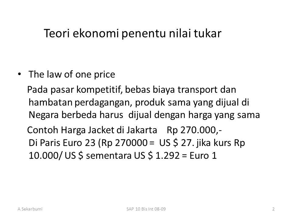 A SekarbumiSAP 10 Bis Int 08-092 Teori ekonomi penentu nilai tukar The law of one price Pada pasar kompetitif, bebas biaya transport dan hambatan perd