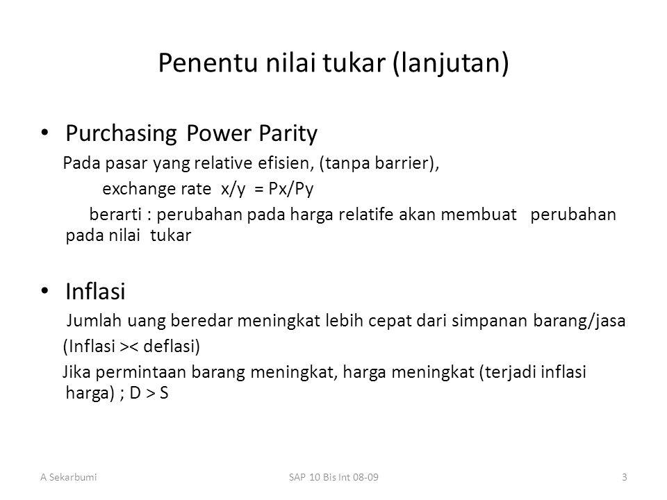 A SekarbumiSAP 10 Bis Int 08-093 Penentu nilai tukar (lanjutan) Purchasing Power Parity Pada pasar yang relative efisien, (tanpa barrier), exchange ra