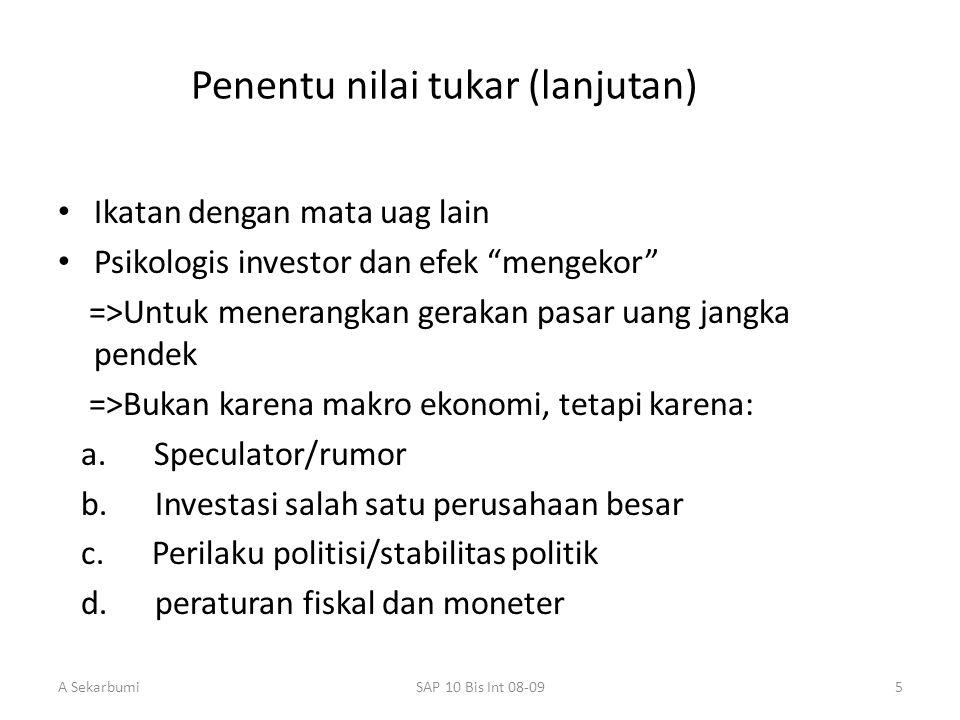 """A SekarbumiSAP 10 Bis Int 08-095 Penentu nilai tukar (lanjutan) Ikatan dengan mata uag lain Psikologis investor dan efek """"mengekor"""" =>Untuk menerangka"""