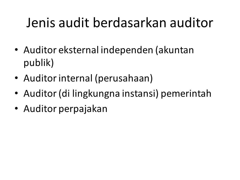Jenis audit berdasarkan auditor Auditor eksternal independen (akuntan publik) Auditor internal (perusahaan) Auditor (di lingkungna instansi) pemerinta