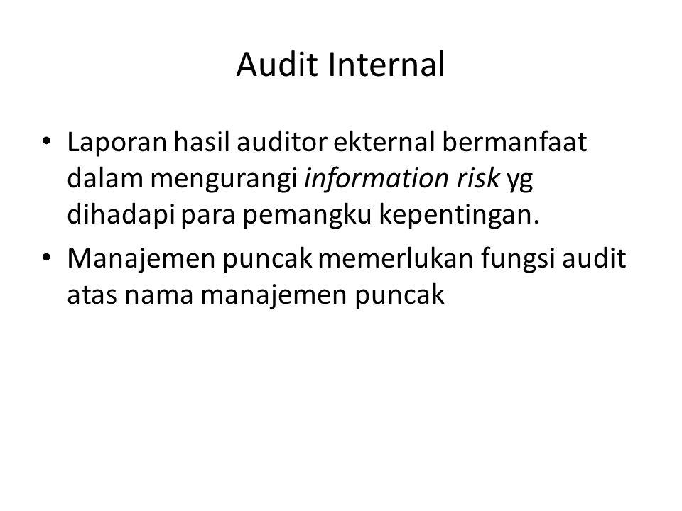 Audit Internal Laporan hasil auditor ekternal bermanfaat dalam mengurangi information risk yg dihadapi para pemangku kepentingan. Manajemen puncak mem