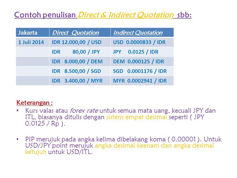 Contoh penulisan Direct & Indirect Quotation sbb: Keterangan : Kurs valas atau forex rate untuk semua mata uang, kecuali JPY dan ITL, biasanya ditulis