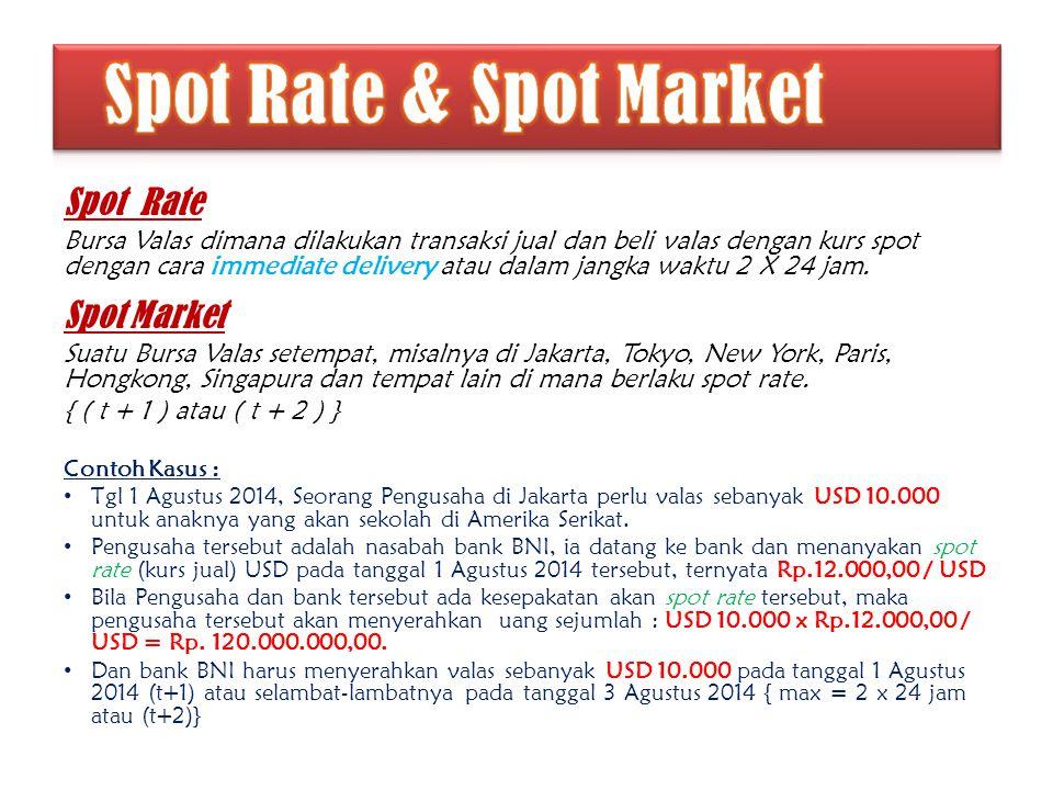 Spot Rate Bursa Valas dimana dilakukan transaksi jual dan beli valas dengan kurs spot dengan cara immediate delivery atau dalam jangka waktu 2 X 24 ja