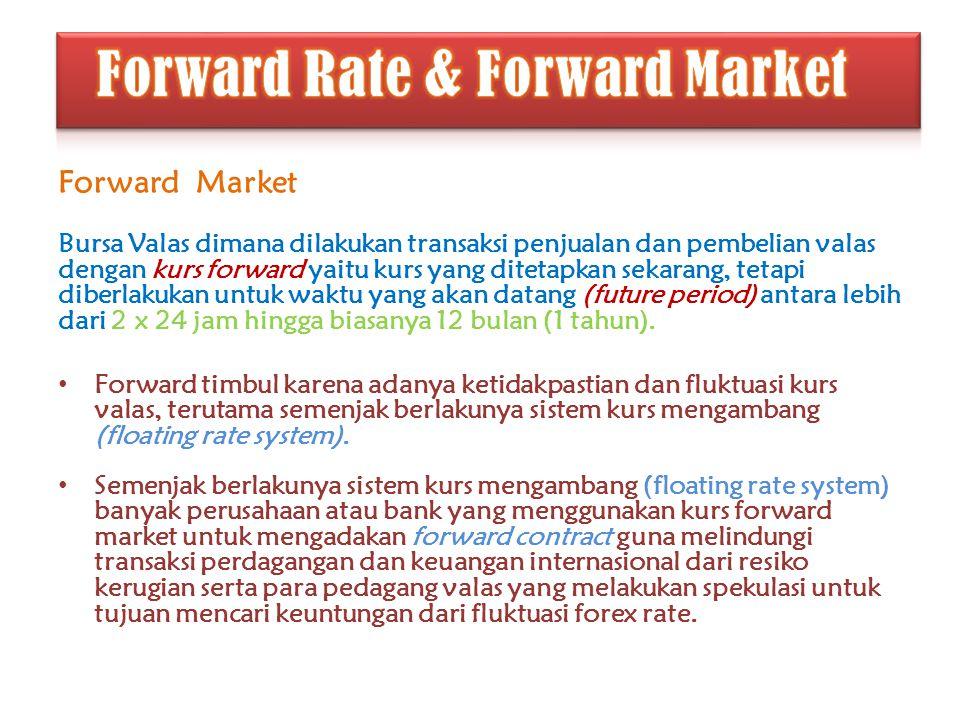 Forward Market Bursa Valas dimana dilakukan transaksi penjualan dan pembelian valas dengan kurs forward yaitu kurs yang ditetapkan sekarang, tetapi di
