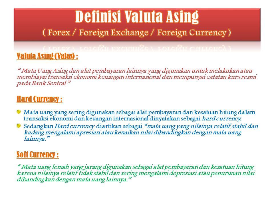 """Valuta Asing (Valas) : """" Mata Uang Asing dan alat pembayaran lainnya yang digunakan untuk melakukan atau membiayai transaksi ekonomi keuangan internas"""