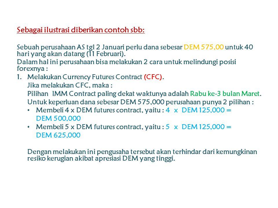 Sebagai ilustrasi diberikan contoh sbb: Sebuah perusahaan AS tgl 2 Januari perlu dana sebesar DEM 575,00 untuk 40 hari yang akan datang (11 Februari).