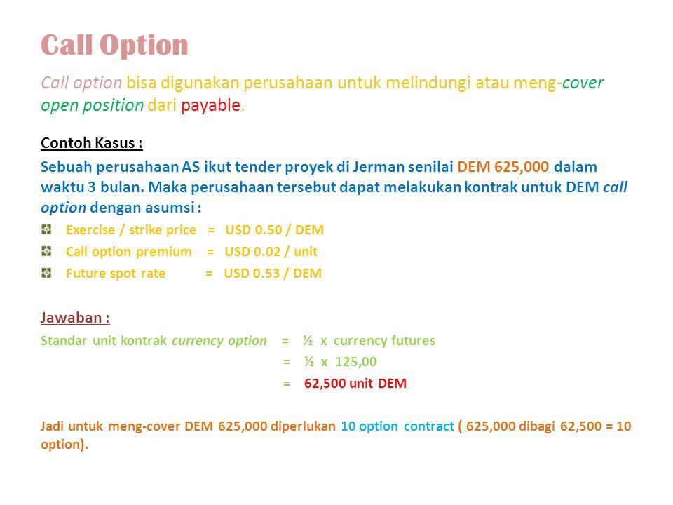 Call Option Call option bisa digunakan perusahaan untuk melindungi atau meng-cover open position dari payable. Contoh Kasus : Sebuah perusahaan AS iku
