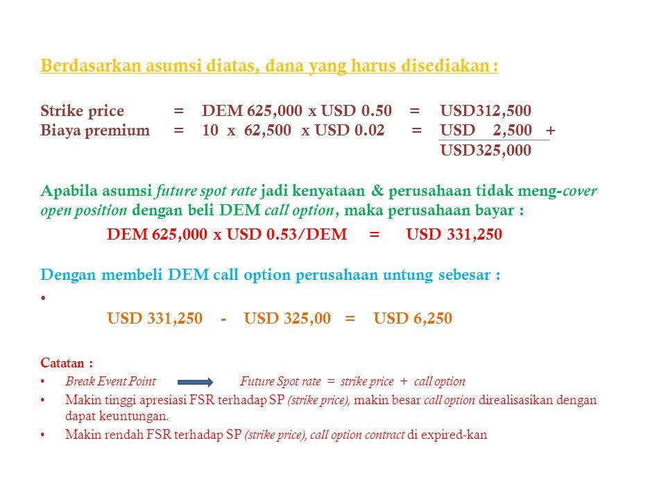 Berdasarkan asumsi diatas, dana yang harus disediakan : Strike price= DEM 625,000 x USD 0.50 =USD312,500 Biaya premium= 10 x 62,500 x USD 0.02 =USD 2,