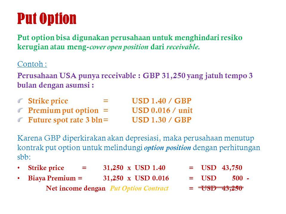 Put Option Put option bisa digunakan perusahaan untuk menghindari resiko kerugian atau meng- cover open position dari receivable. Contoh : Perusahaan