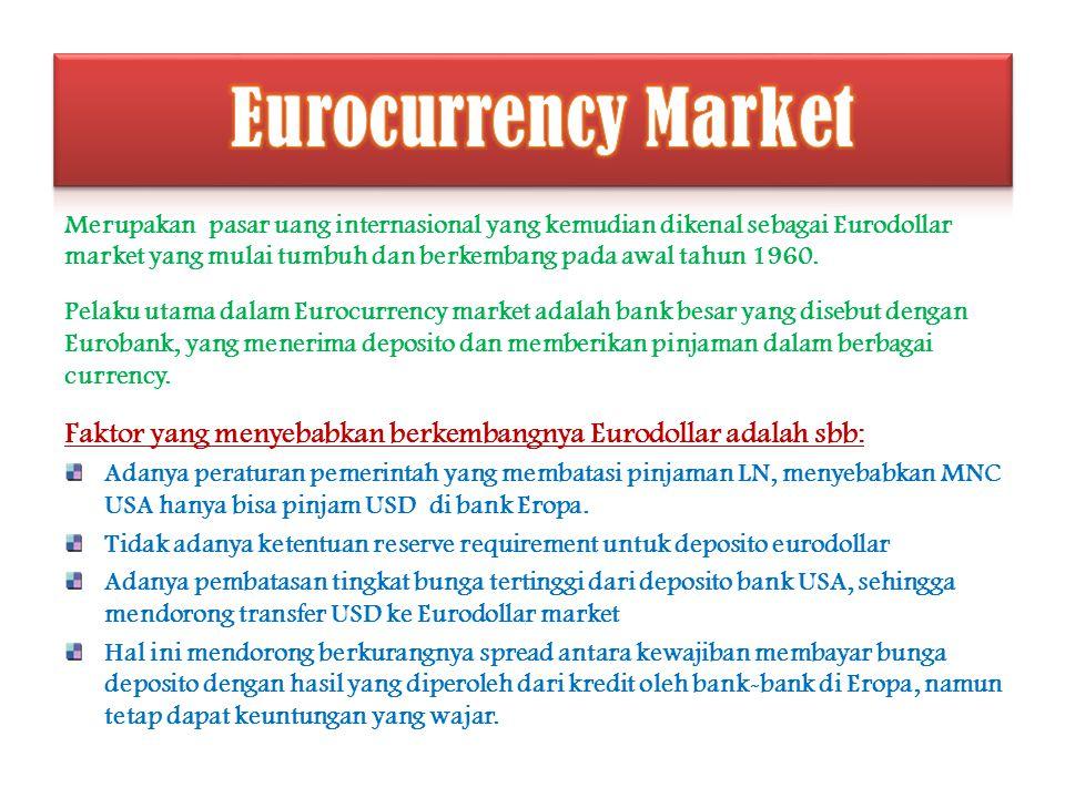 Merupakan pasar uang internasional yang kemudian dikenal sebagai Eurodollar market yang mulai tumbuh dan berkembang pada awal tahun 1960. Pelaku utama