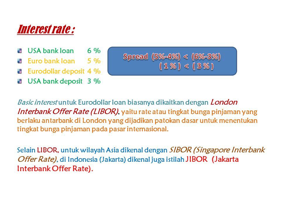 Interest rate : USA bank loan6 % Euro bank loan5 % Eurodollar deposit4 % USA bank deposit3 % Basic interest untuk Eurodollar loan biasanya dikaitkan d