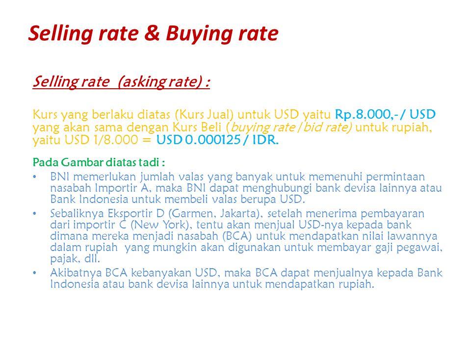 Selling rate & Buying rate Selling rate (asking rate) : Kurs yang berlaku diatas (Kurs Jual) untuk USD yaitu Rp.8.000,- / USD yang akan sama dengan Ku