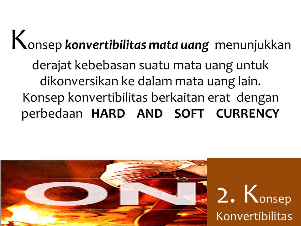 K onsep konvertibilitas mata uang menunjukkan derajat kebebasan suatu mata uang untuk dikonversikan ke dalam mata uang lain.