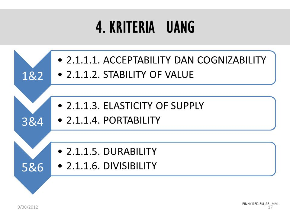 4. KRITERIA UANG 1&2 2.1.1.1. ACCEPTABILITY DAN COGNIZABILITY 2.1.1.2. STABILITY OF VALUE 3&4 2.1.1.3. ELASTICITY OF SUPPLY 2.1.1.4. PORTABILITY 5&6 2