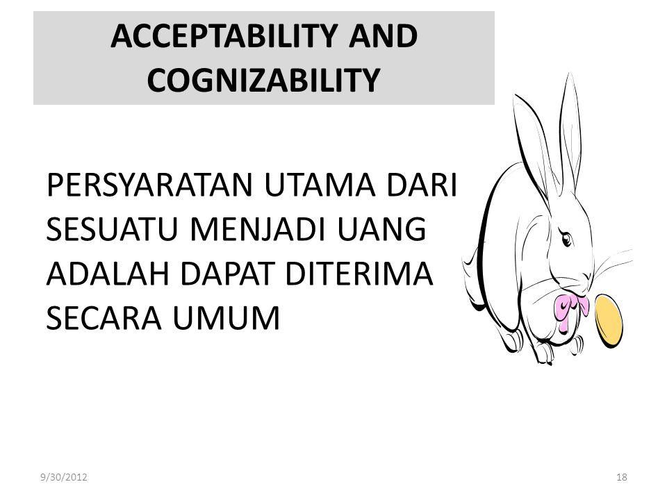 ACCEPTABILITY AND COGNIZABILITY PERSYARATAN UTAMA DARI SESUATU MENJADI UANG ADALAH DAPAT DITERIMA SECARA UMUM 9/30/201218