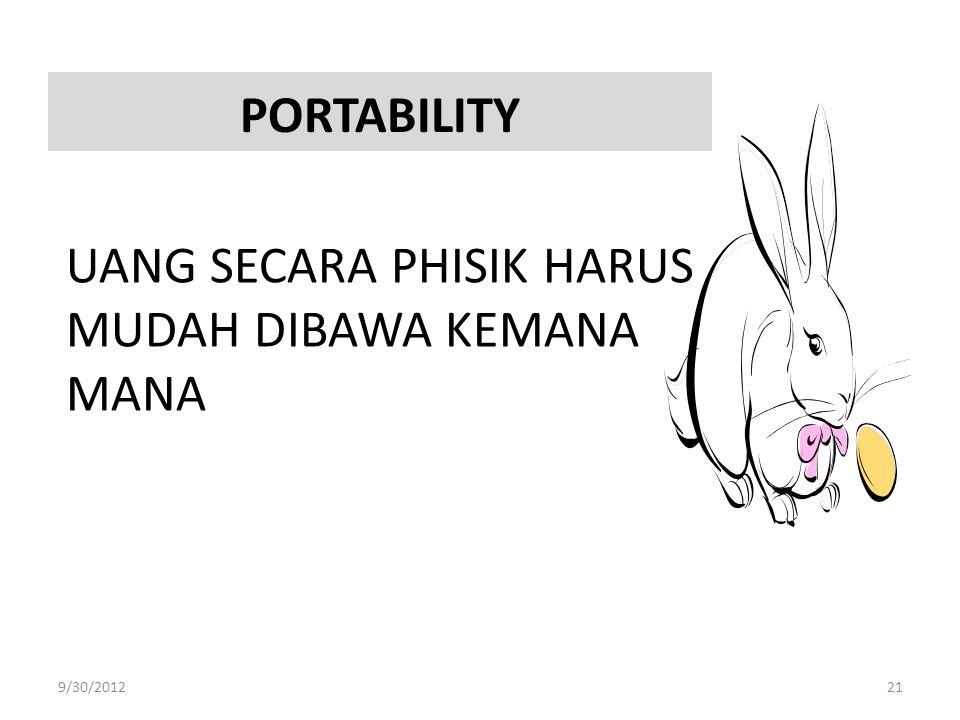PORTABILITY UANG SECARA PHISIK HARUS MUDAH DIBAWA KEMANA MANA 9/30/201221