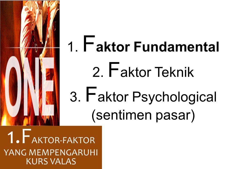 1. F aktor Fundamental 2. F aktor Teknik 3. F aktor Psychological (sentimen pasar) 1.F AKTOR-FAKTOR YANG MEMPENGARUHI KURS VALAS