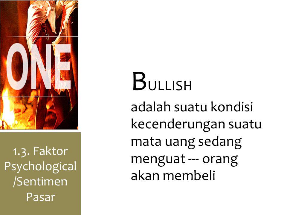 1.3. Faktor Psychological /Sentimen Pasar B ULLISH adalah suatu kondisi kecenderungan suatu mata uang sedang menguat --- orang akan membeli