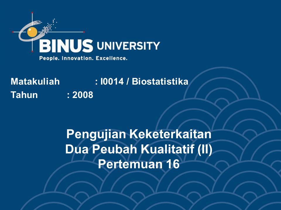 Bina Nusantara Learning Outcomes Pada akhir pertemuan ini, diharapkan mahasiswa akan mampu : Mahasiswa dapat melakukan pengujian keterkaitan dua peubah kualitatif (C3)