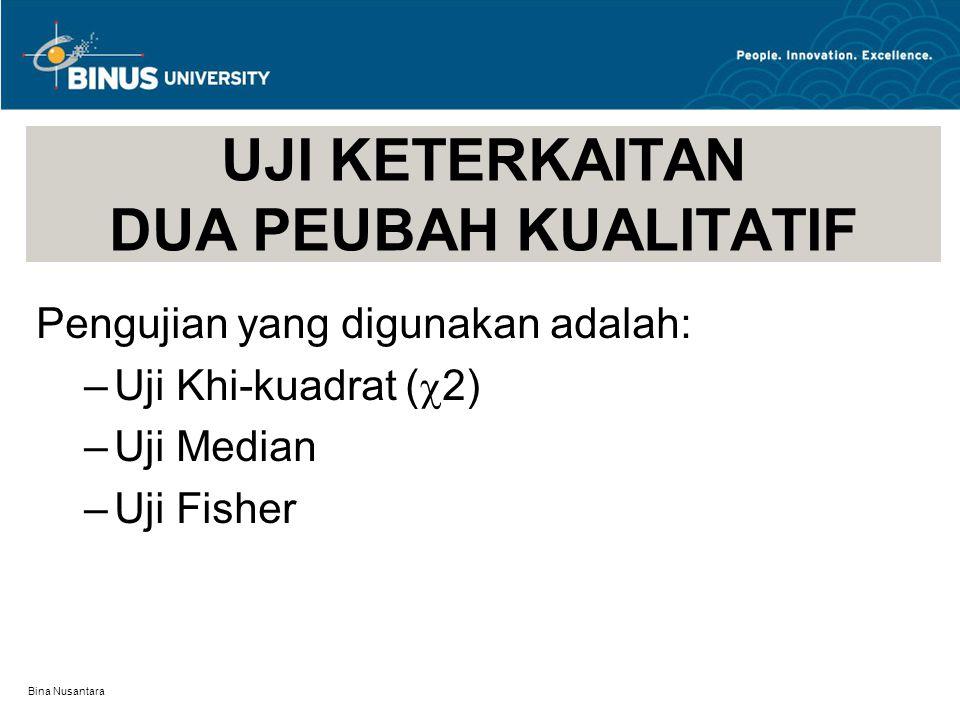 Bina Nusantara UJI KETERKAITAN DUA PEUBAH KUALITATIF Pengujian yang digunakan adalah: –Uji Khi-kuadrat (  2) –Uji Median –Uji Fisher