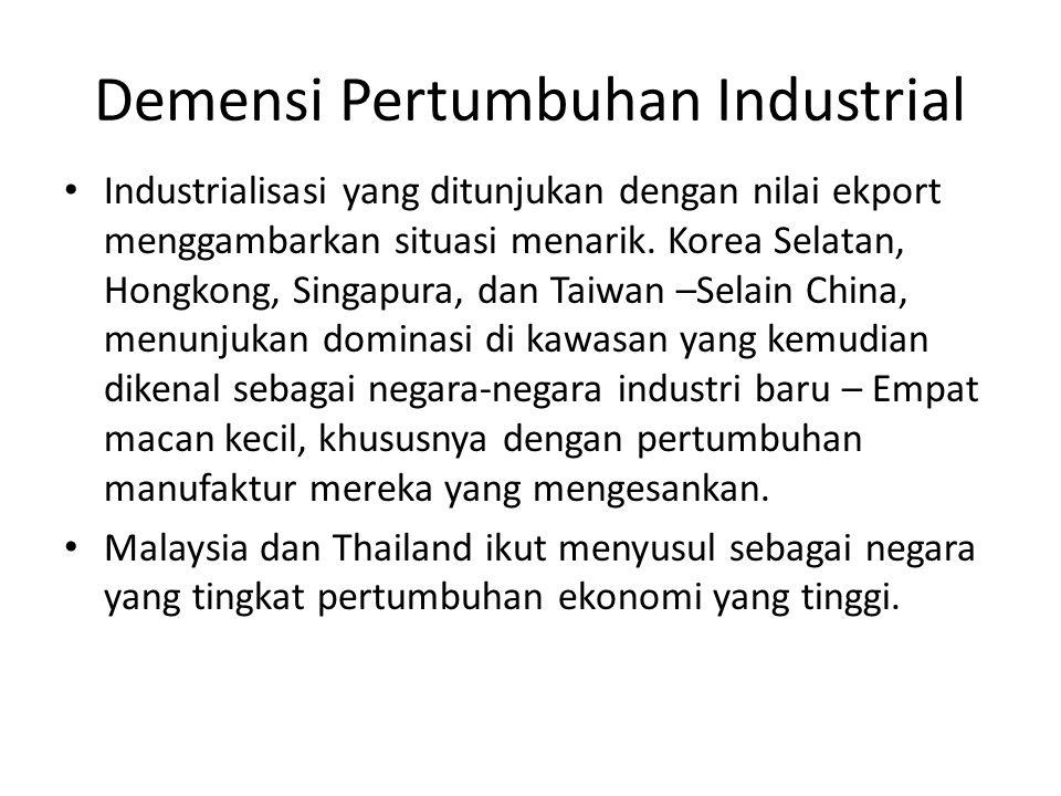 Demensi Pertumbuhan Industrial Industrialisasi yang ditunjukan dengan nilai ekport menggambarkan situasi menarik. Korea Selatan, Hongkong, Singapura,