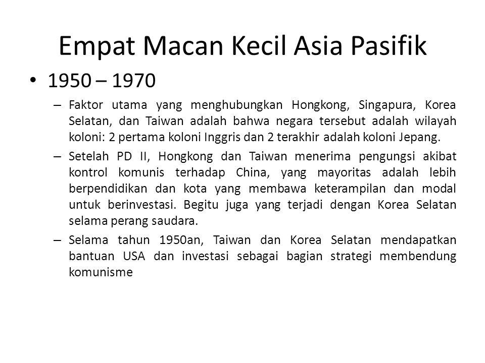 Empat Macan Kecil Asia Pasifik 1950 – 1970 – Faktor utama yang menghubungkan Hongkong, Singapura, Korea Selatan, dan Taiwan adalah bahwa negara terseb
