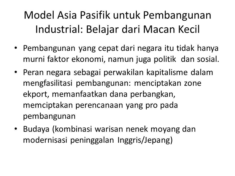 Model Asia Pasifik untuk Pembangunan Industrial: Belajar dari Macan Kecil Pembangunan yang cepat dari negara itu tidak hanya murni faktor ekonomi, namun juga politik dan sosial.