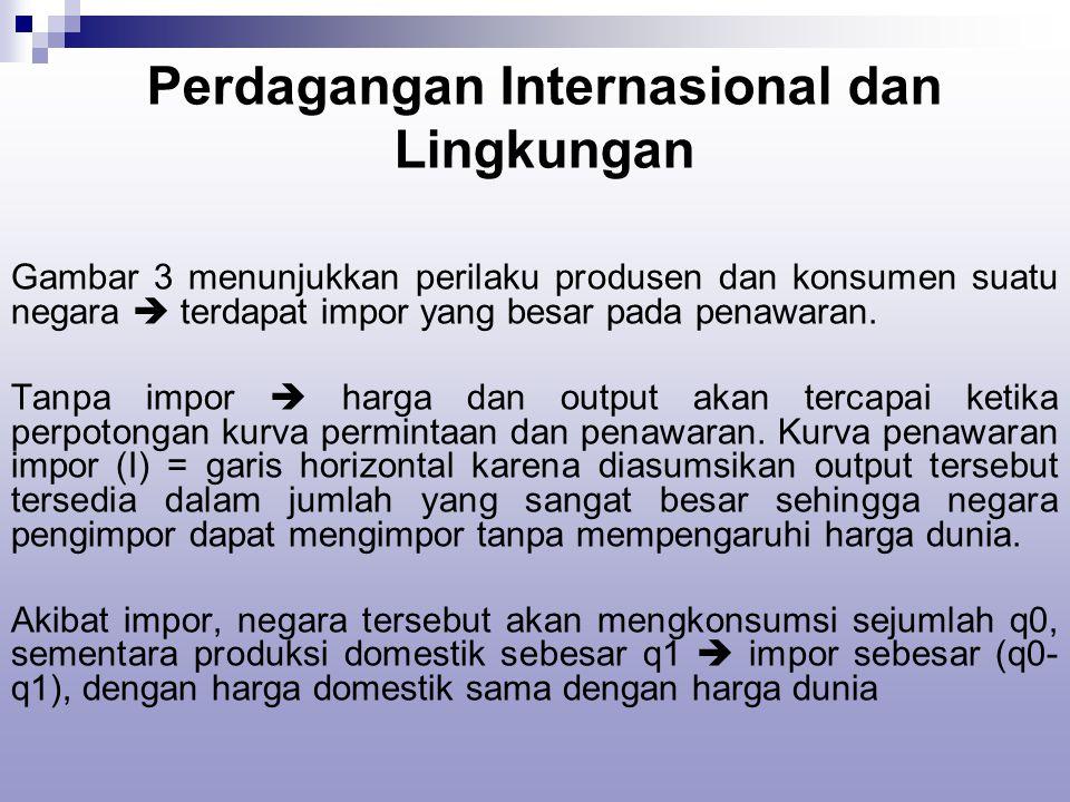 Perdagangan Internasional dan Lingkungan Gambar 3 menunjukkan perilaku produsen dan konsumen suatu negara  terdapat impor yang besar pada penawaran.